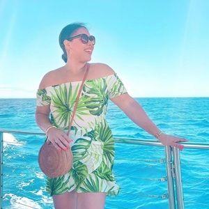 Hawaiian Tropical Leaf Print Mini Dress